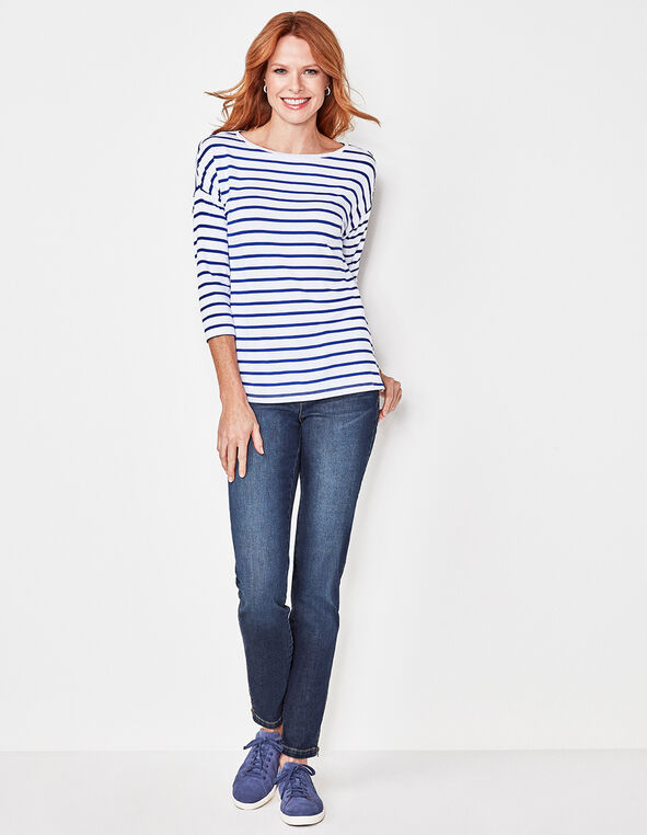 Blue Striped Drop Sleeve Tee, White/Blue, hi-res