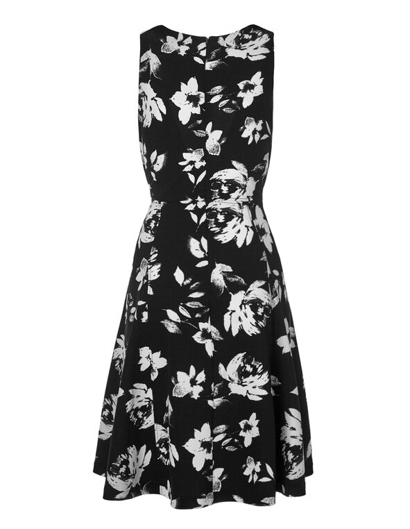 Floral Fit and Flare Dress, Black/Ivory, hi-res