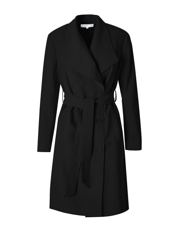 Black Soft Belted Trench Coat, Black, hi-res