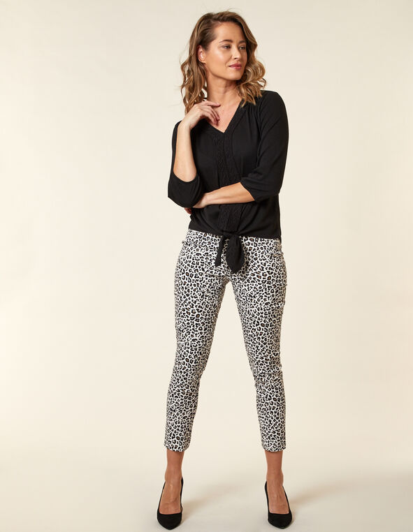 Animal Print Slim Ankle Pant, Neutral/Brown, hi-res