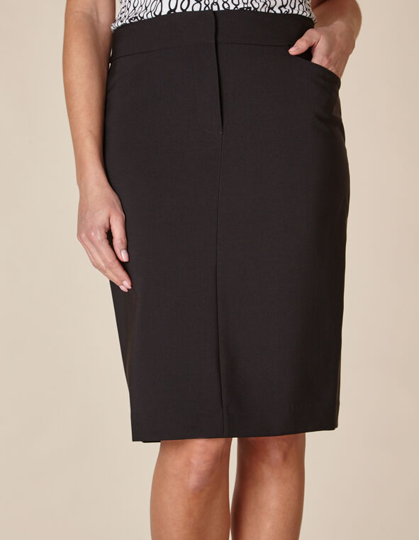 Black Zip Front Pencil Skirt, Black, hi-res