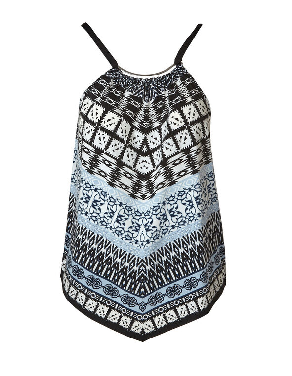 Black Print Halter Top, Black Pa, hi-res
