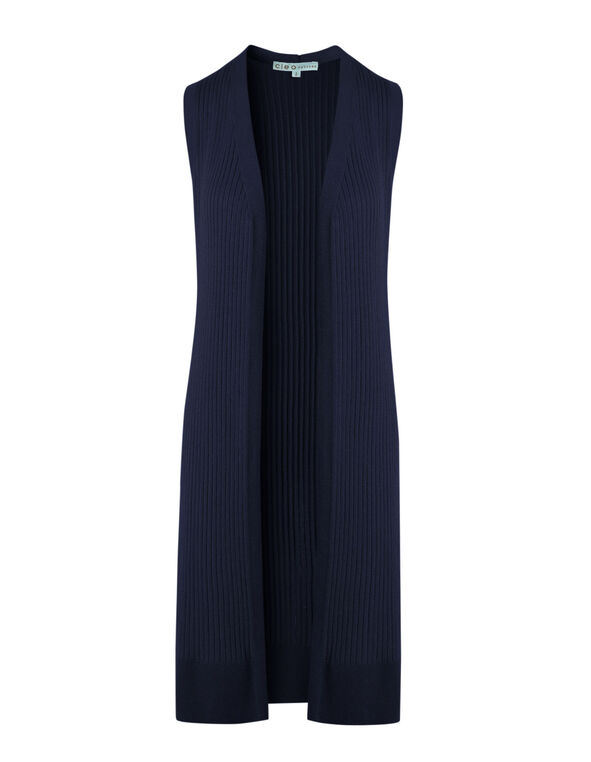 Navy Long Ribbed Vest, Navy, hi-res