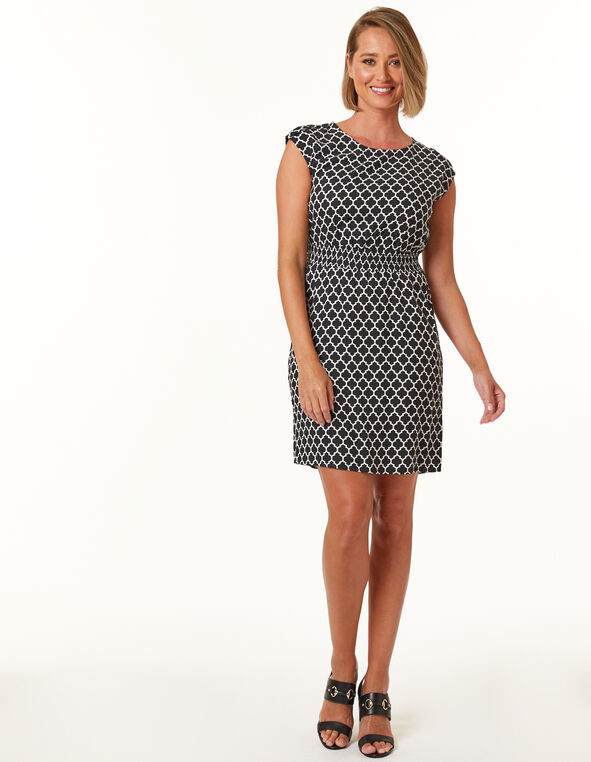Black Geo Print Fit and Flare Dress, Black, hi-res