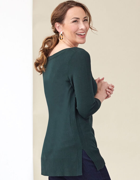 Loden Essential Sweater, Green, hi-res