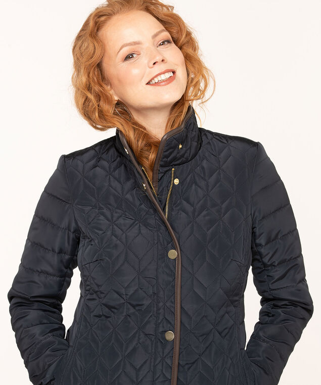 Navy Quilted Coat, Navy, hi-res