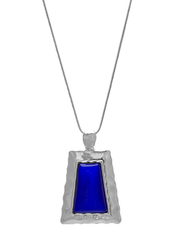 Cobalt Cat Eye Pendant Necklace, Cobalt, hi-res