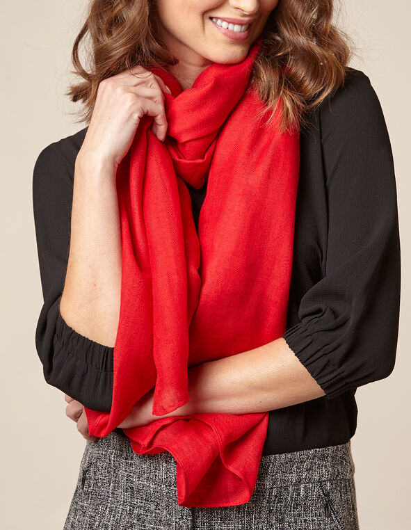 Poppy Herringbone Scarf, Red/Poppy, hi-res