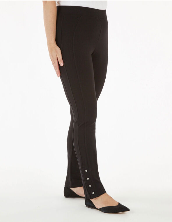 Long Black Snap Bottom Legging, Black, hi-res