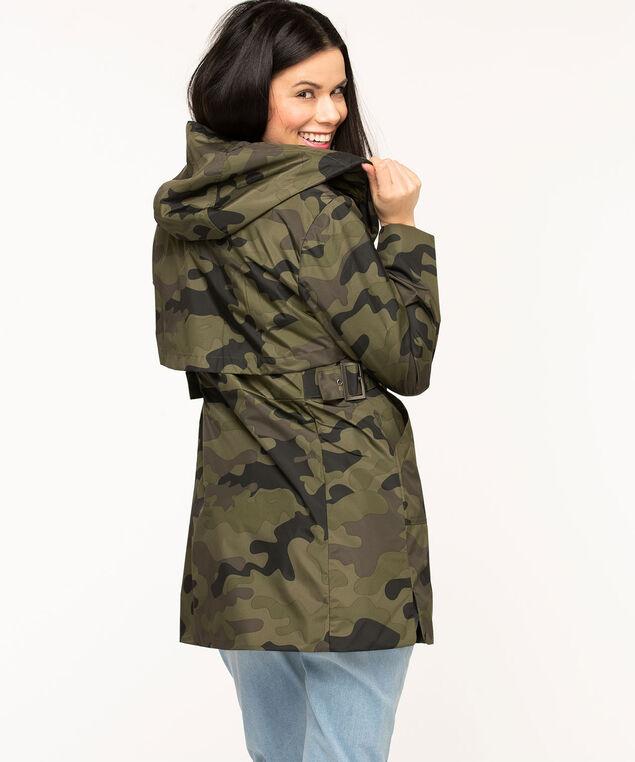 Hooded Camo Windshell Coat, Olive Camo