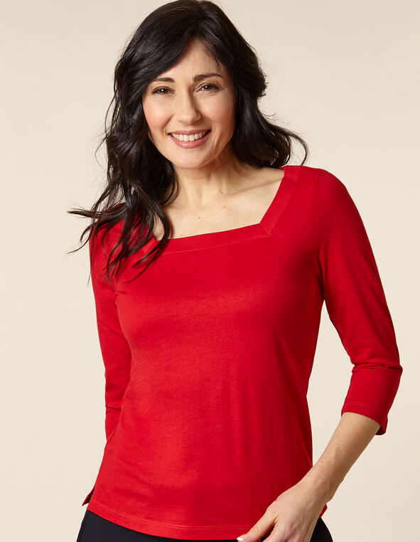 Poppy Square Neck Tee, Red/Poppy, hi-res