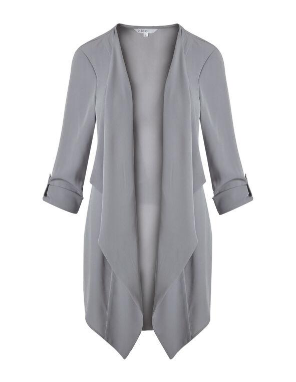 Grey Draped Roll Sleeve Blazer, Light Grey, hi-res
