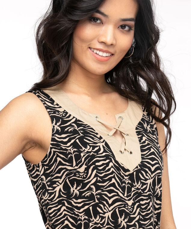 Cotton Tie Neck Slub Dress, Tan/Black Print
