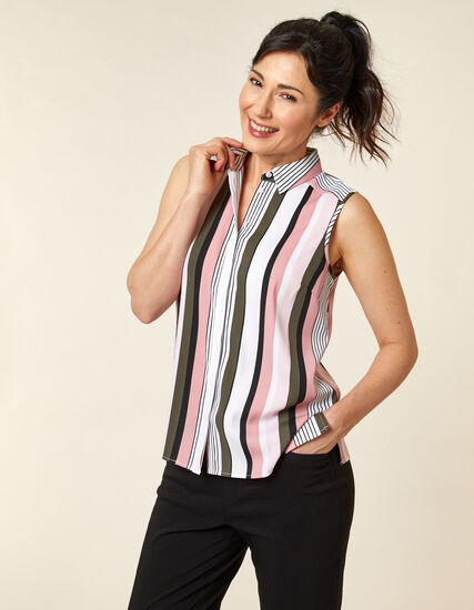 Olive Striped Collared Button Blouse, Green/Olive, hi-res