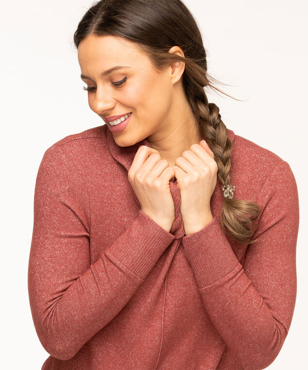 Cowl Neck Lightweight Knit Top, Rosewood