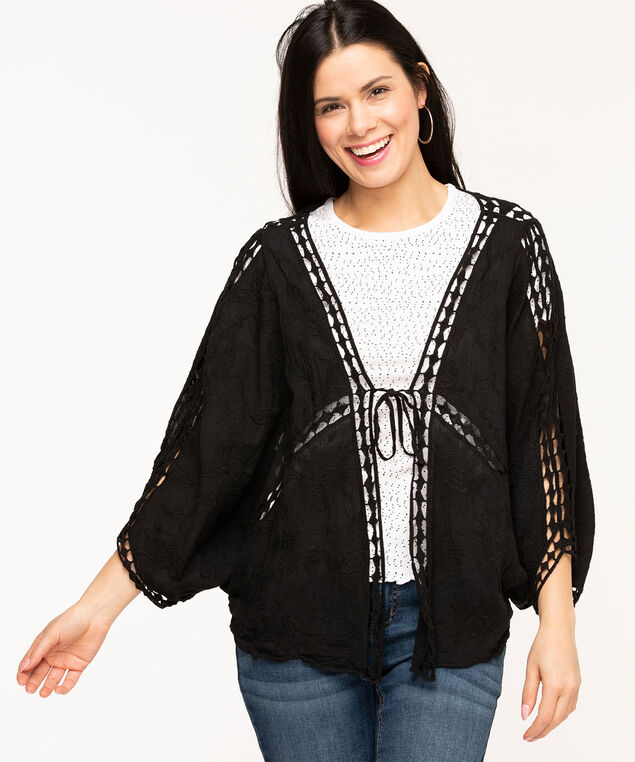 Black Soft Embroidered Cocoon Cover-Up, Black
