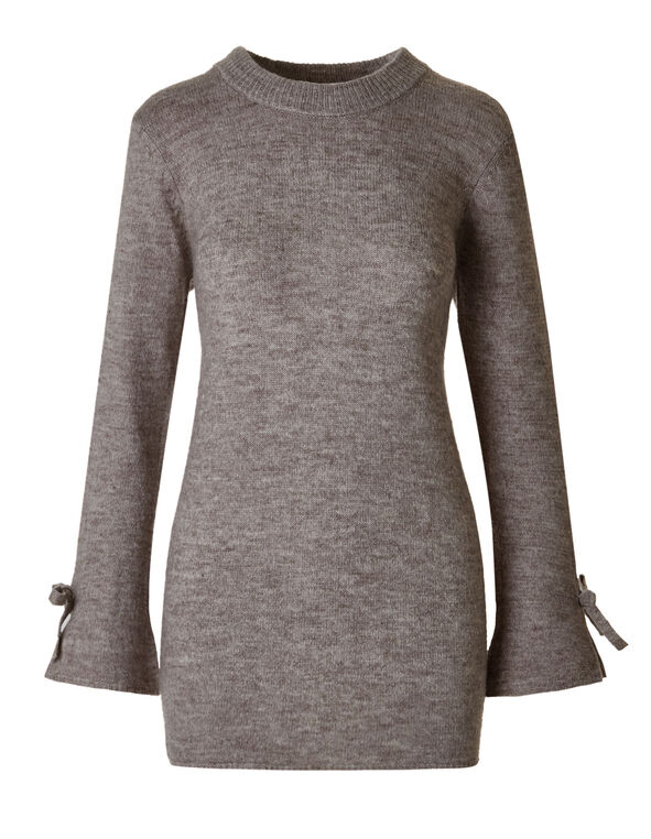 Light Taupe Bell Sleeve Sweater, Light Taupe, hi-res