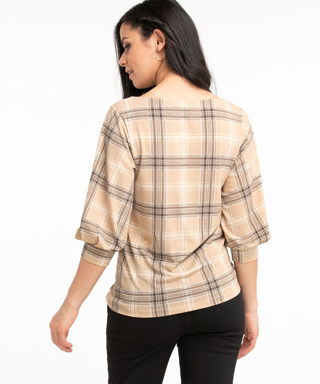 Recycled 3/4 Sleeve Crepe Top, Neutral Plaid