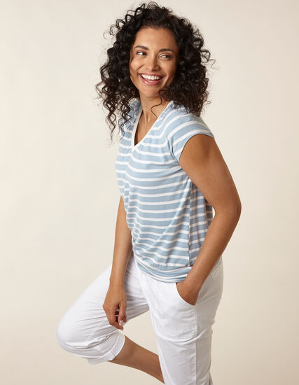 Light Blue Striped Banded Top, Blue/White, hi-res