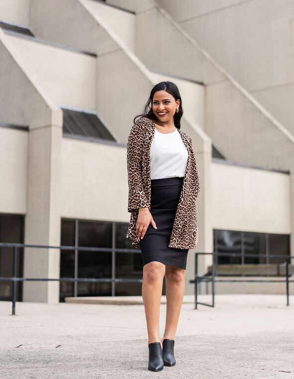Leopard Print Draped Blazer, Brown, hi-res