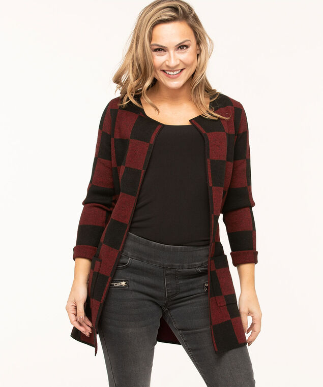 Ruby Check Open Cardigan, Red/Black, hi-res