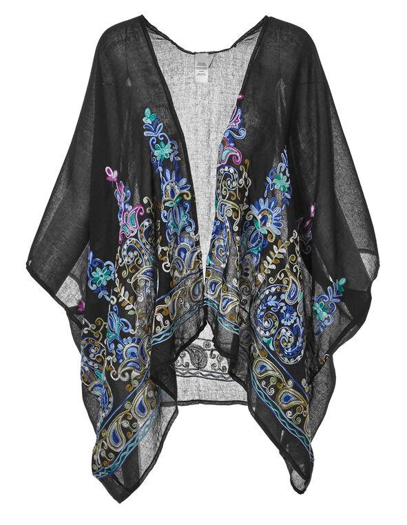 Black Embroidered Kimono, Black, hi-res