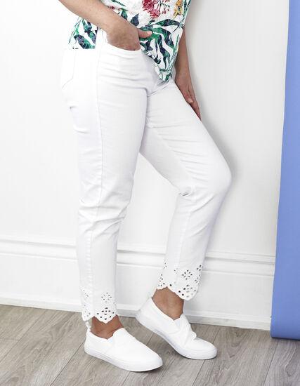 White Scallop Hem Cotton Jean, White, hi-res