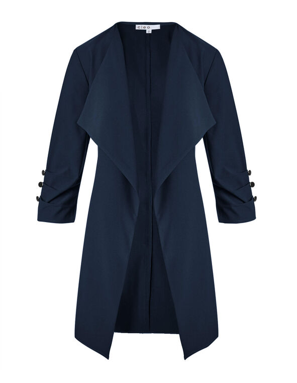 Navy Ruched Sleeve Draped Blazer, Navy, hi-res