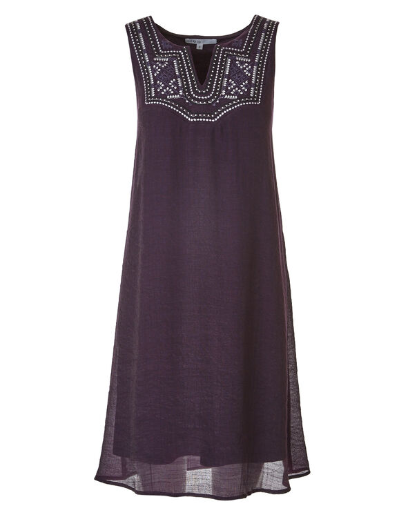 Purple Embroidered Gauze Dress, Purple, hi-res