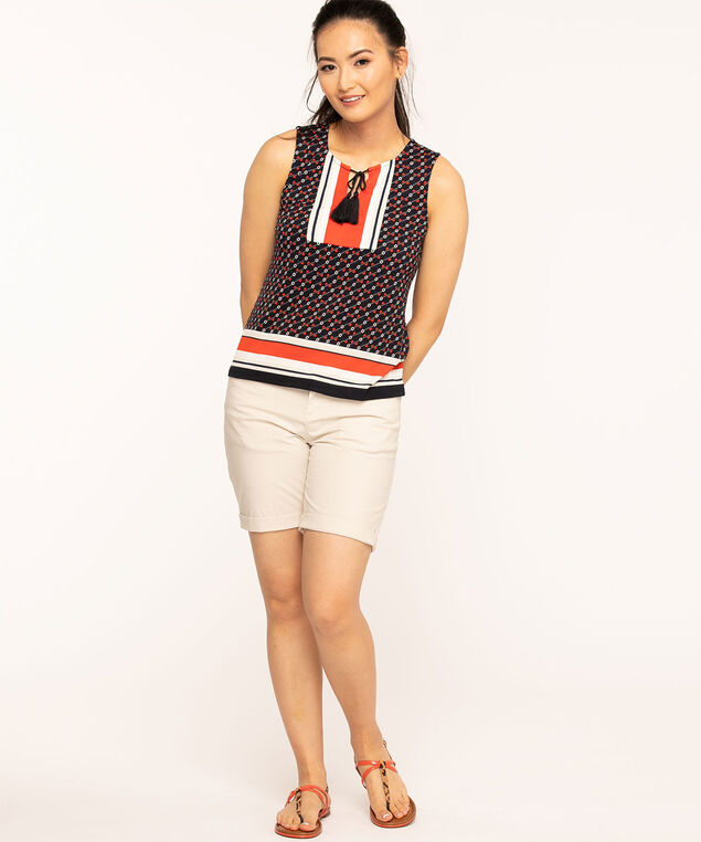 Pique Knit Tassle Front Top, Navy/Red/Ivory