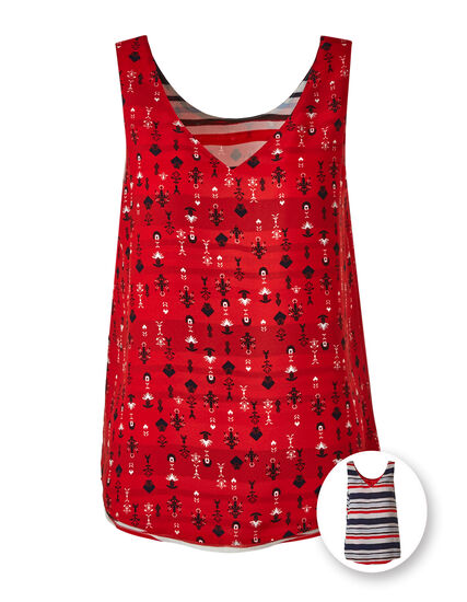 Red Reversible Neck Blouse, Red, hi-res
