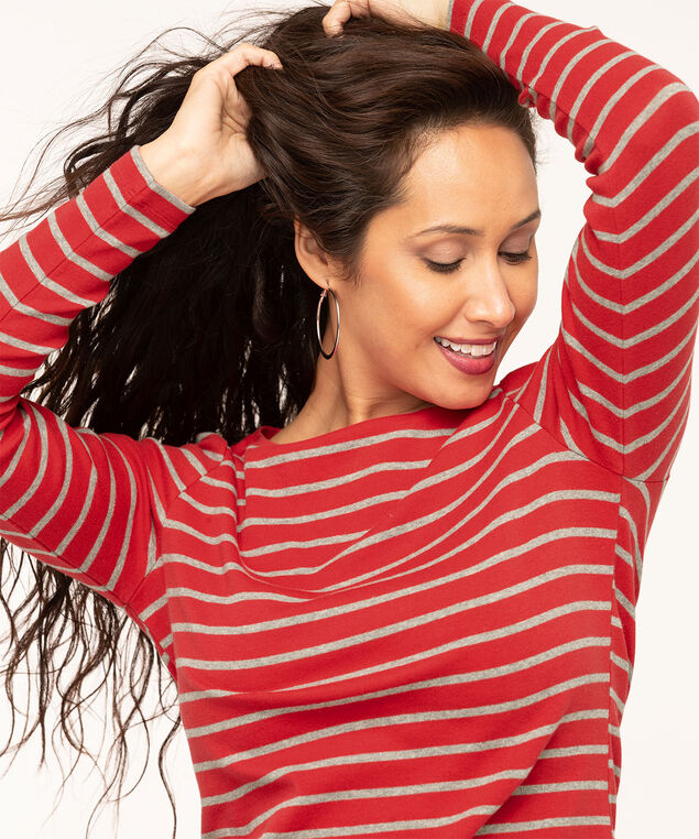 Long Sleeve Boat Neck Tee, Red/Grey Stripe