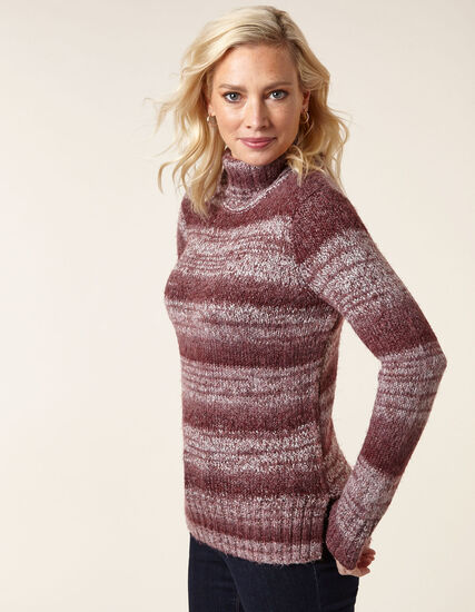 Merlot Mix Turtleneck Sweater, Merlot, hi-res