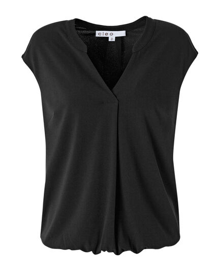 Black Bubble Hem Top, Black, hi-res