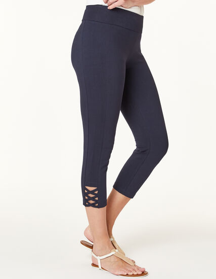 Navy Criss Cross Capri Legging, Navy, hi-res