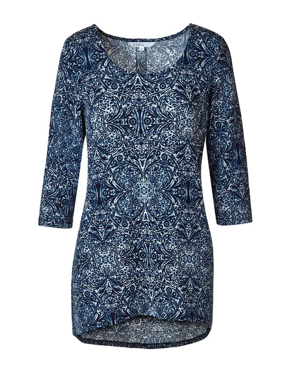 Navy Paisley Hacchi Tunic Top, Navy, hi-res