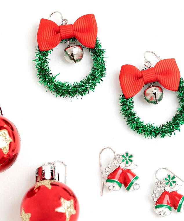 Festive Christmas Earring 3-Pack, Silver