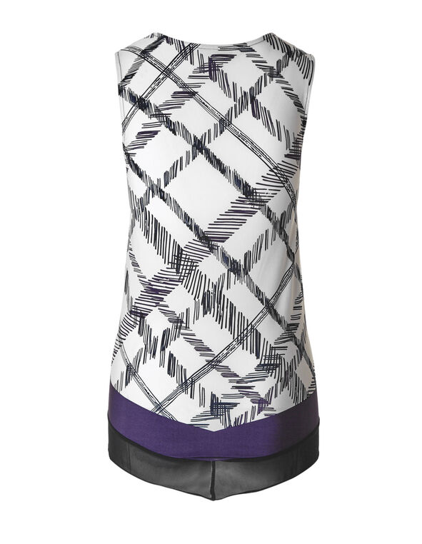Purple Patterned Chiffon Hem Top, Purple/White, hi-res