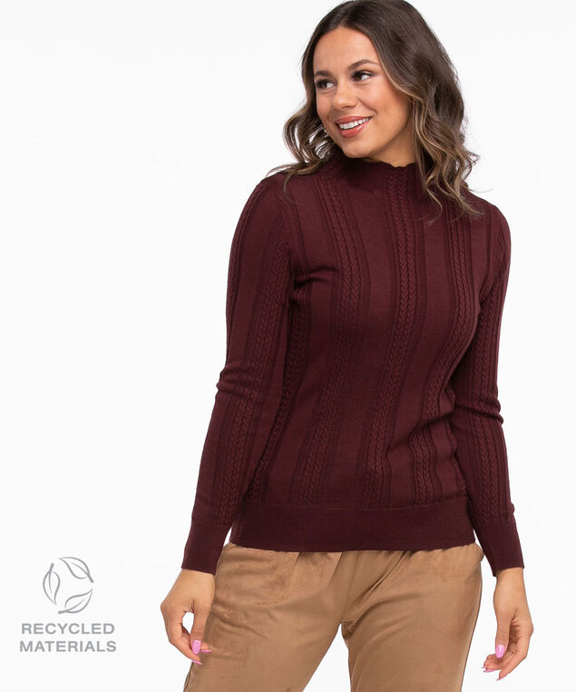 Recycled Mock Neck Sweater, Oxblood Mix