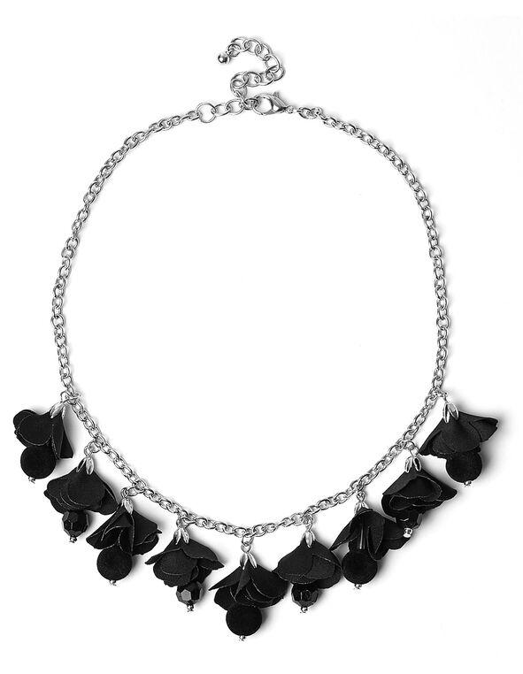 Black Fabric Flower Short Necklace, Black, hi-res