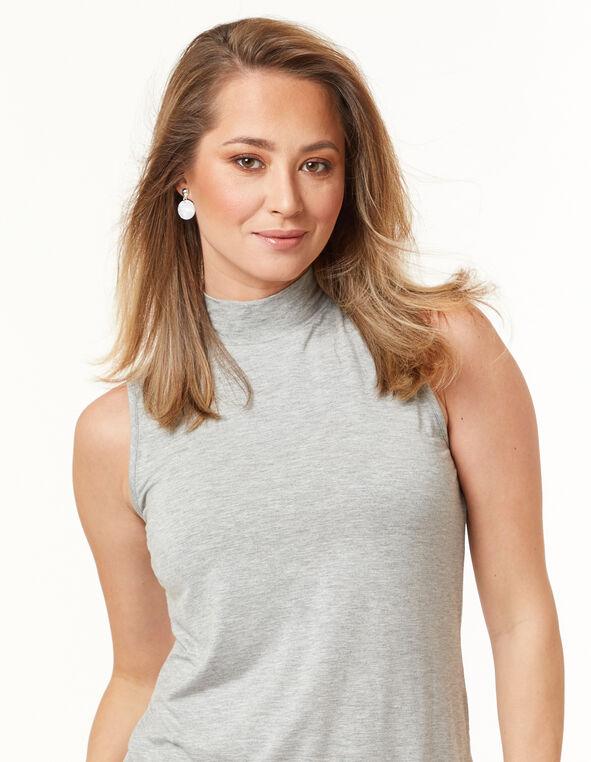 Knit Mock Neck Top, Grey, hi-res