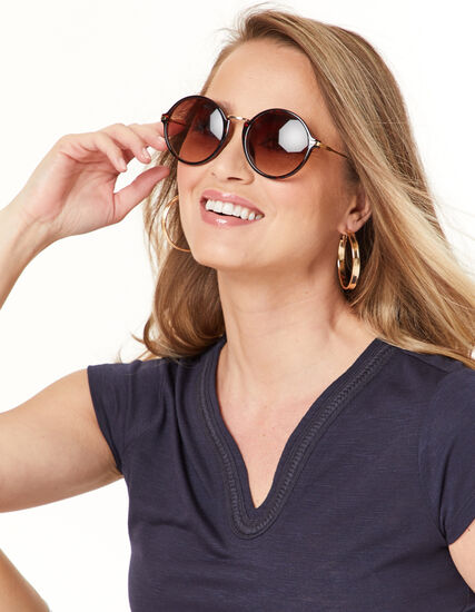Round Big Frame Sunglasses, Brown, hi-res
