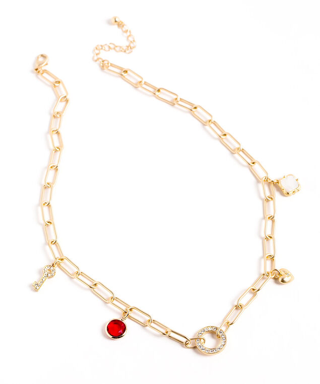 Short Gold Charm Necklace, Gold