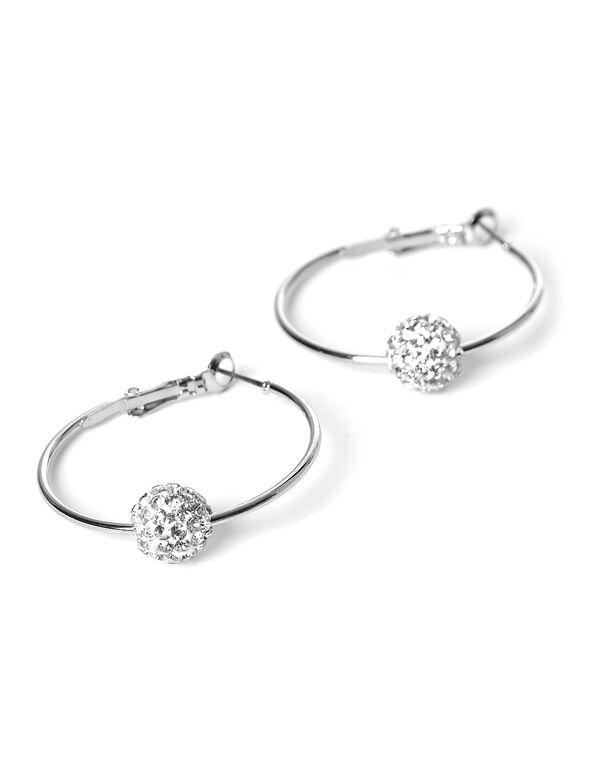 Silver Fireball Hoop Earring, Silver, hi-res