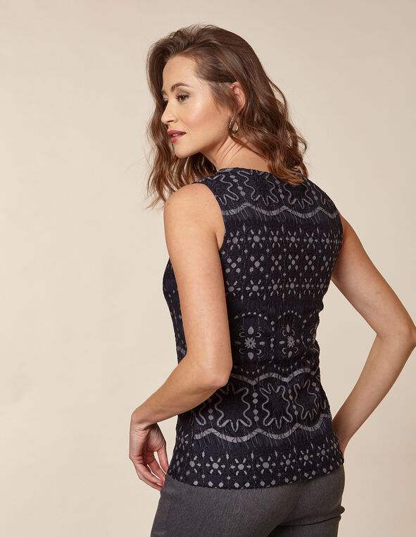 Navy Lace Sleeveless Knit Top, Navy/Grey, hi-res