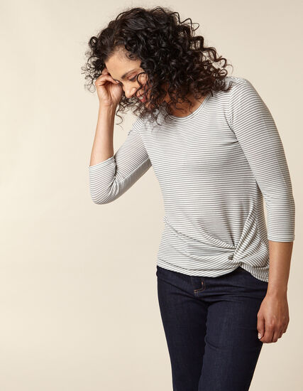 Grey Striped Front Knot Hacchi Top, Grey, hi-res