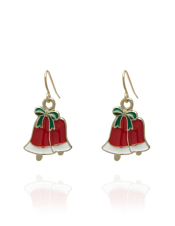 Seasonal Bell Earring, Red, hi-res