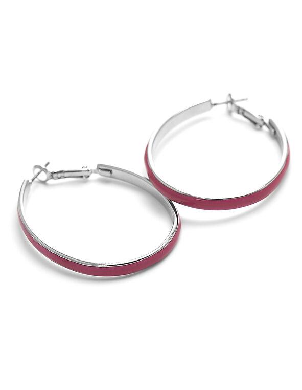Pink Enamel Painted Hoop Earring, Pink, hi-res