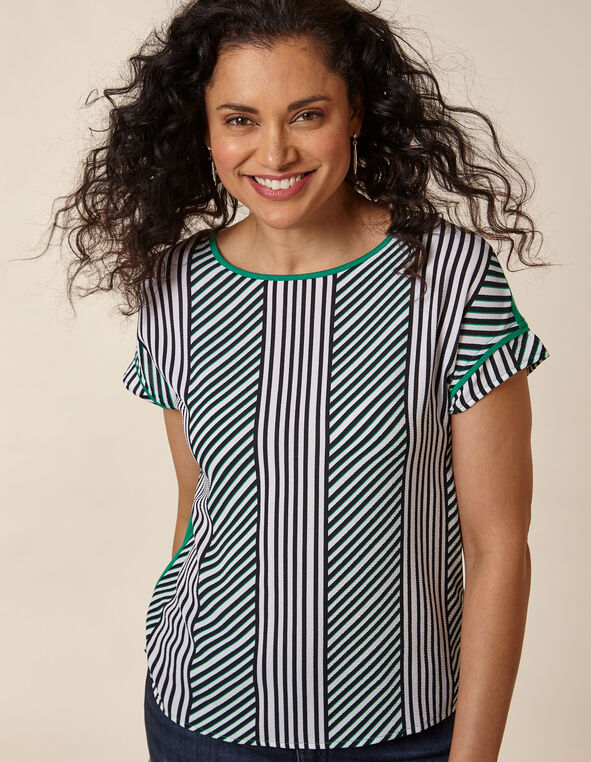 Emerald Stripe Woven Front Top, Green/Emerald, hi-res