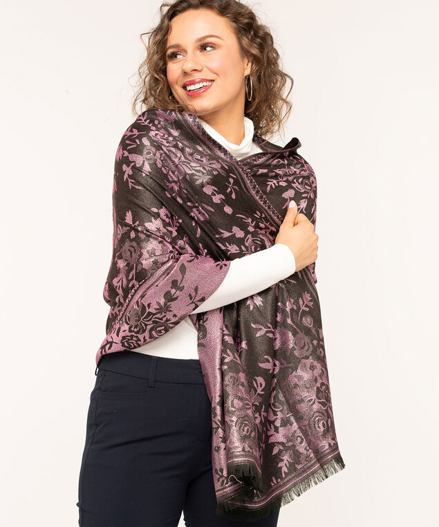 Floral Boutique Lurex Scarf, Pink/Black Mix, hi-res